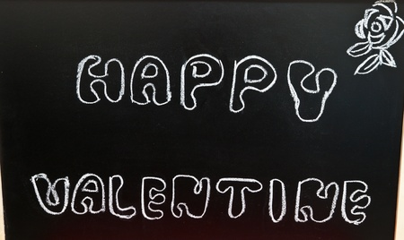 Happy valentine on a chalkboard photo