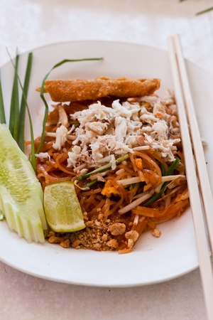 thai food Pad thai , Stir fry noodles with shrimp Stock Photo - 13135117