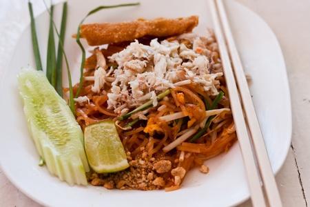 thai food Pad thai , Stir fry noodles with shrimp Stock Photo