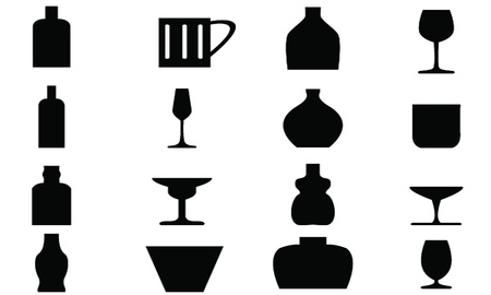 Bottle and Glass Icon with White Background  Vector
