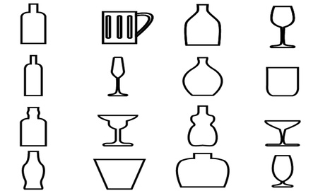 Bottle and Glass Icon with White Background Stock Vector - 21423112