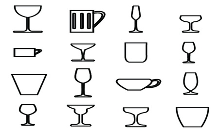 Glass icons with White Background  Vector