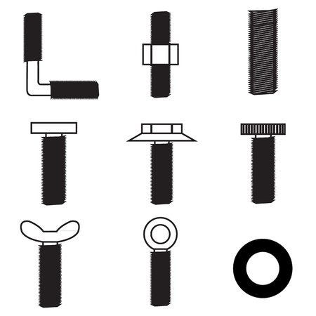 Set of screws icon Vector