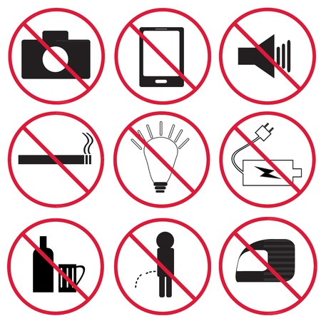 Prohibition signs, set Stock Vector - 21420408