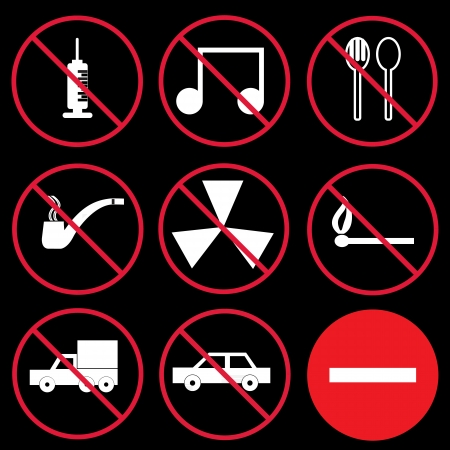 Prohibition signs, set Vector