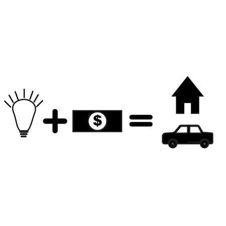 cash cycle: idea bulb and money