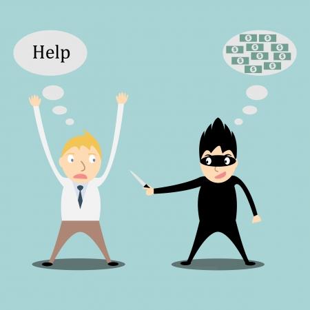 beroofd: zakenman wordt beroofd Stock Illustratie