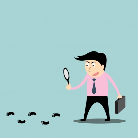 a detective, following footprints  Illustration