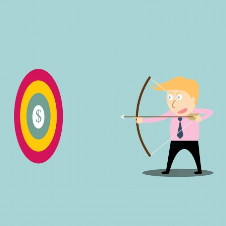 businessman aiming at dollar with bow and arrow Vector