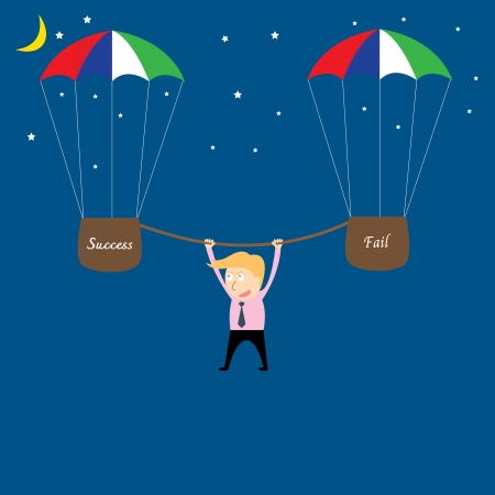 business man hanging from rope Stock Vector - 22736081