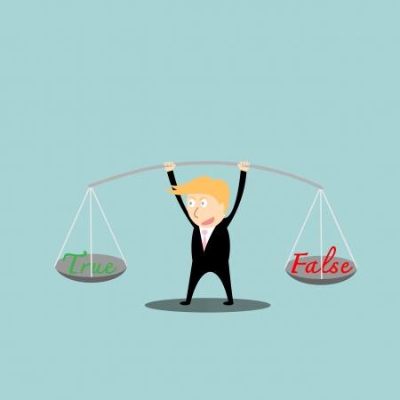 false: Businessman balance  a true and false in hands