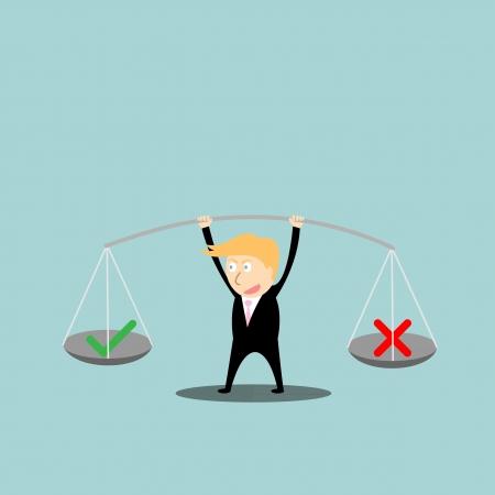 Businessman balance  a true and false in hands