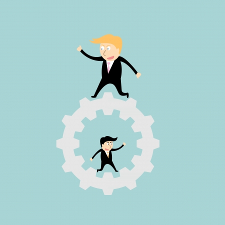 businessman walking on big gear Vector