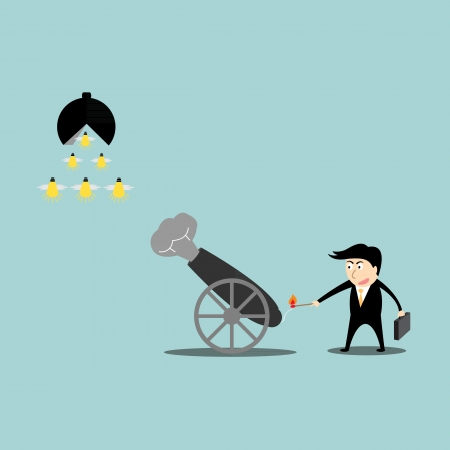 Businessman artillery fire bullet idea