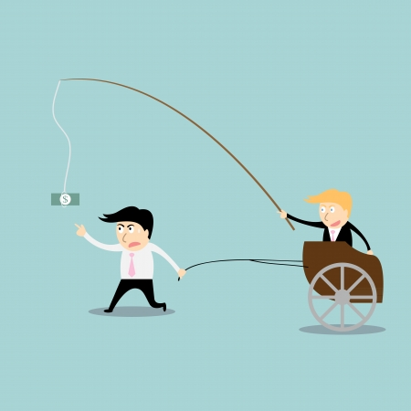 Businessman chasing money concept