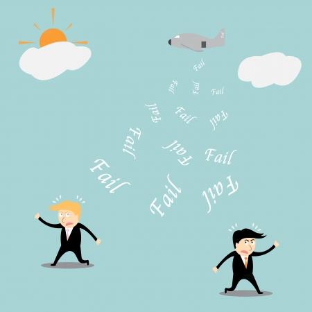 unsuccess: fail investment cartoon concept