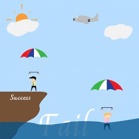 összpontosított: Üzletember összpontosított a cél az ejtőernyős Illusztráció