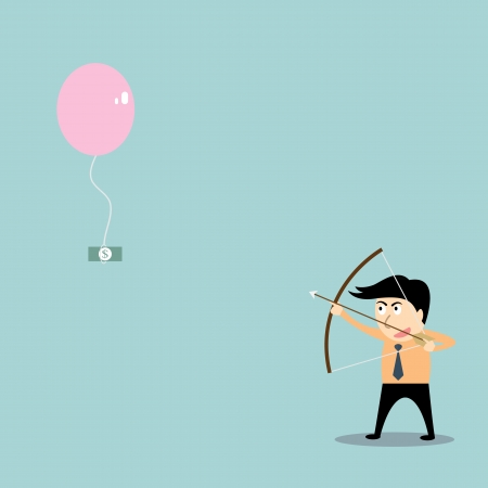 businessman aiming at money with bow and arrow Vector