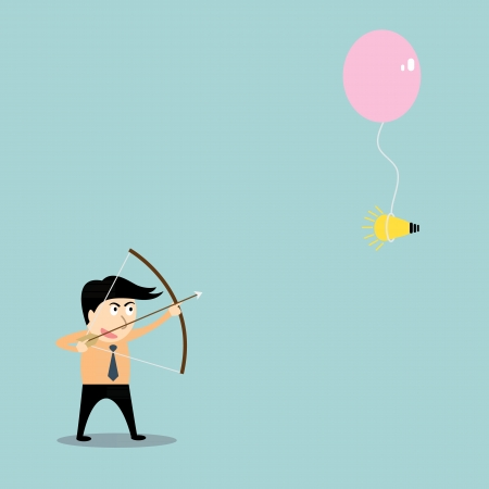 businessman aiming at idea with bow and arrow Vector