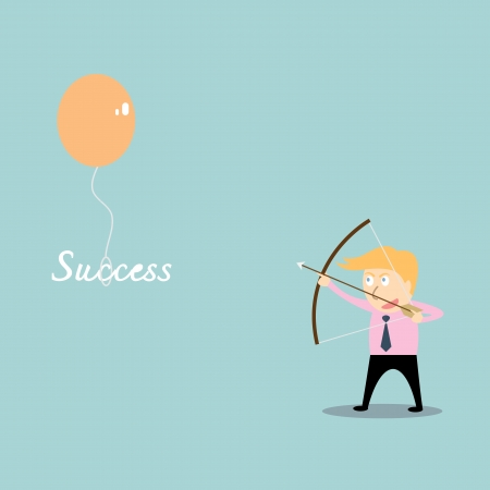 businessman aiming at success job with bow and arrow Vector