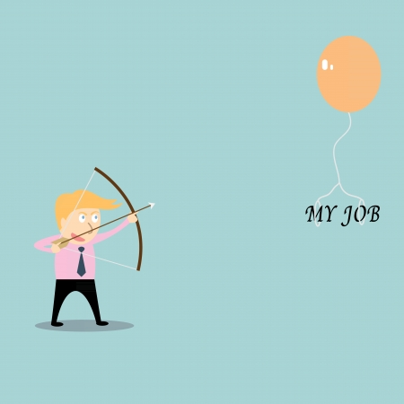 businessman aiming at job with bow and arrow Vector