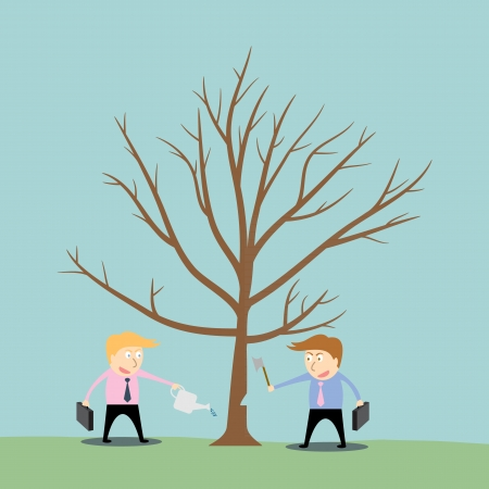 competitor: businessman cutting tree of competitor Illustration