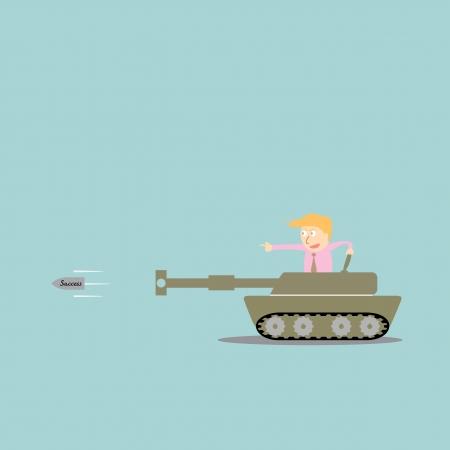 Business artillery fire bullet success Vector