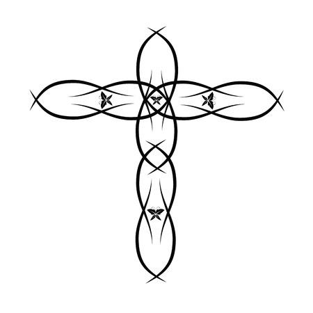 christian cross: Ornate Christian Cross Vector Illustration