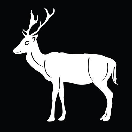 horny: silhouette deer Illustration