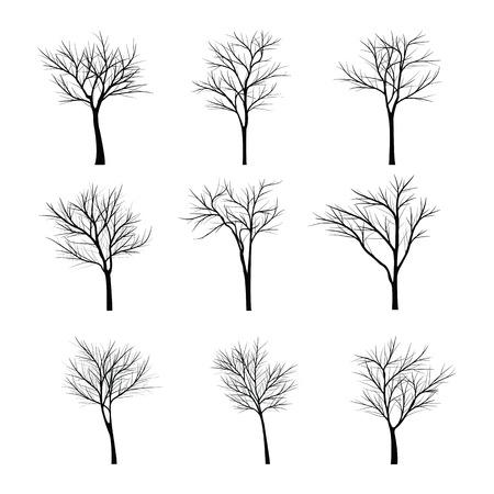 tronco: Árboles con rama muerta Vectores