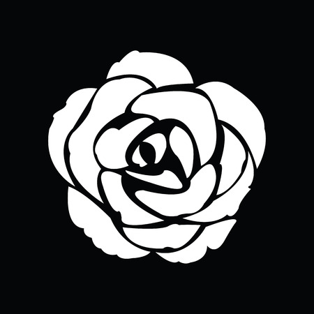 rose: Black silhouette of rose Illustration