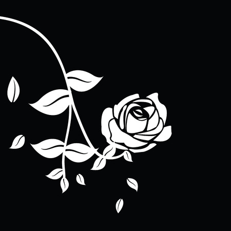 rosas blancas: Black silhouette of rose with leaves Vectores