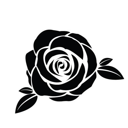 rosa negra: Negro silueta de se levantó con las hojas