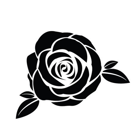 Black silhouette of rose with leaves Illustration