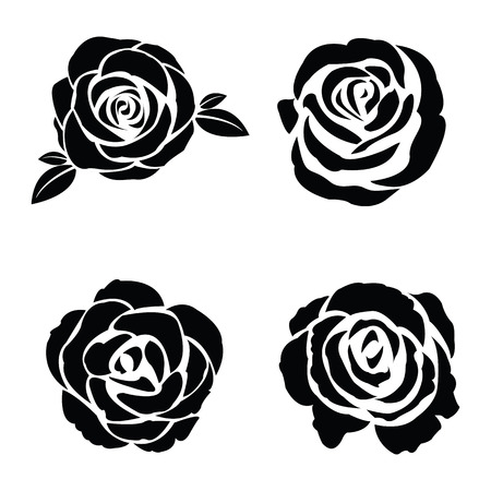 rose flowers: Black silhouette of rose set