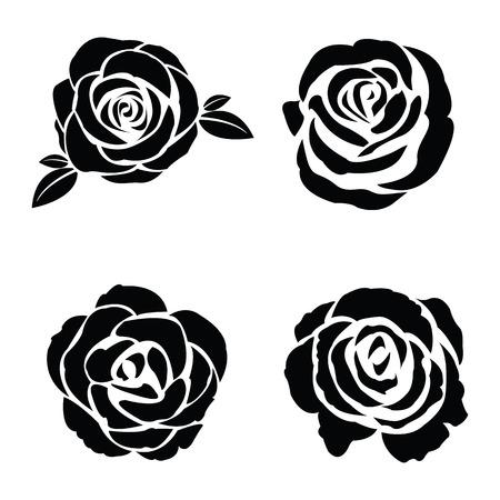 dessin noir et blanc: Silhouette noire d'ensemble de rose Illustration