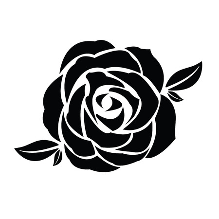 rose: Black silhouette of rose with leaves Illustration
