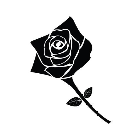 Black silhouette of rose Stock Vector - 53434624