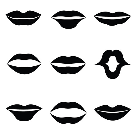 sexy tongue: Women lips and mouth flat style icon set