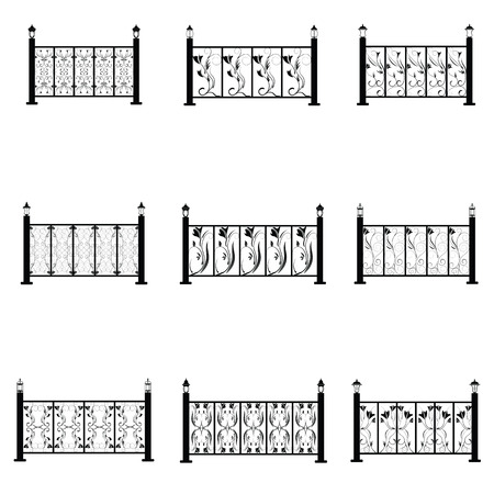 Zaun Vektor Symbole gesetzt