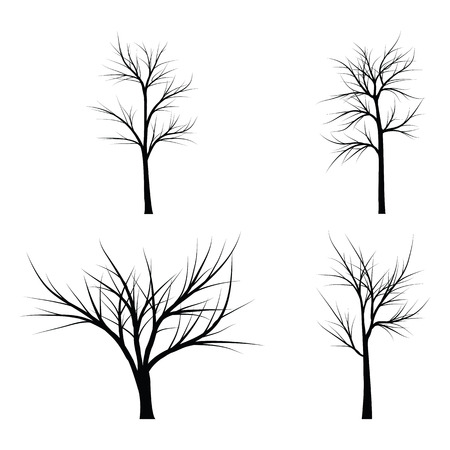 Bäume mit toten Zweigen Vektor-Illustration.