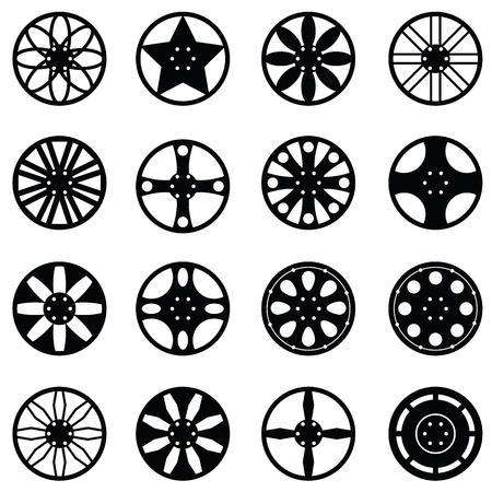 rim: car wheel icon set