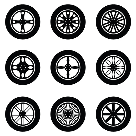 car isolated: car wheel icon set