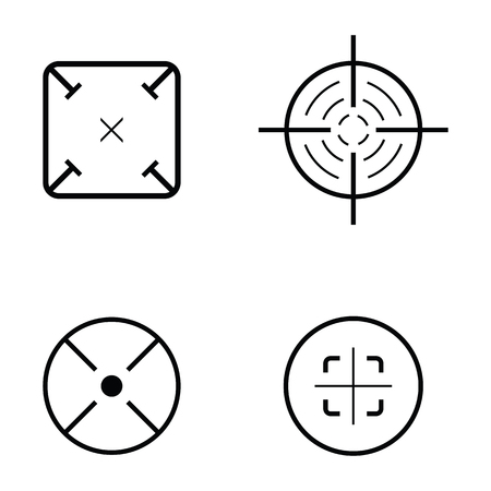 Set of crosshair icons in black and white.