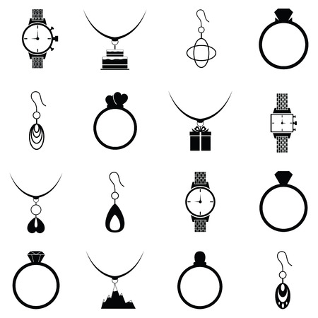 Jewelry and accessories icon set Illustration