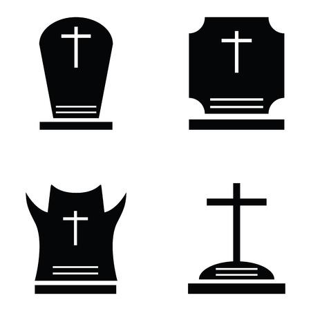 Grave icon set Illustration