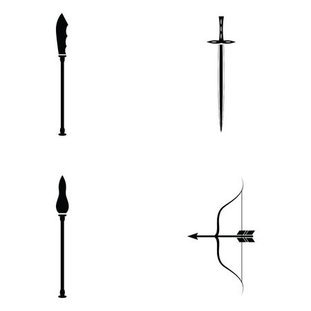Set of ancient weapons  in black and white. Illustration