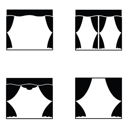 Curtain icon set in black and white.