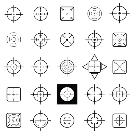 Set of crosshair icons in black and white