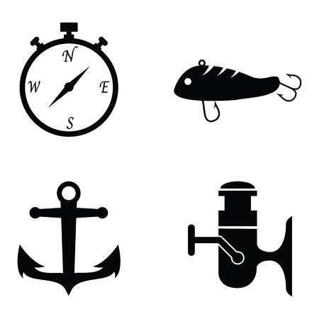 Set of fishing icons in black and white Illustration